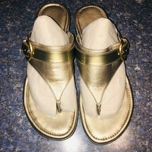 Cole Haan Soft Gold Metallic Leather Sandal, 9.5B